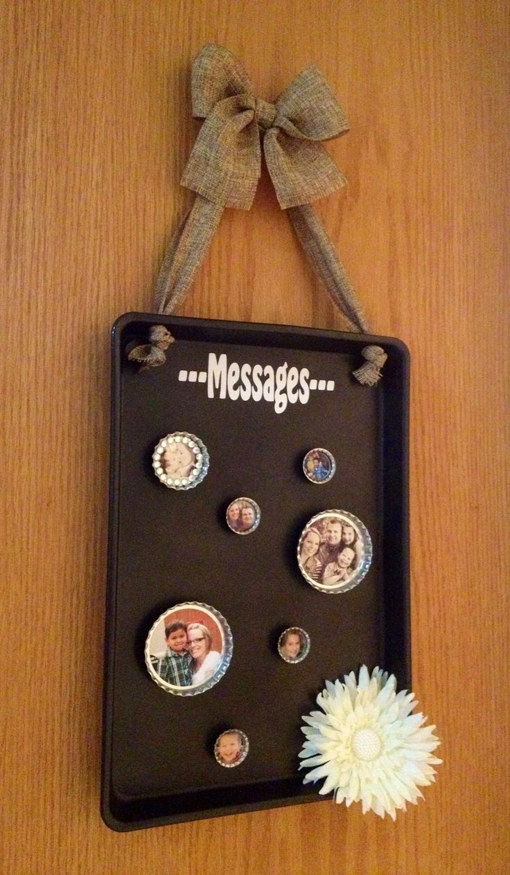 Magnet message board made from an old cookie sheet, spray paint, burlap and vinyl.