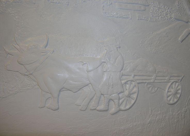 """Объемная картина """"Украинское село"""", фрагмент. Ручная работа. Гипсовая шпаклевка, акриловая краска."""