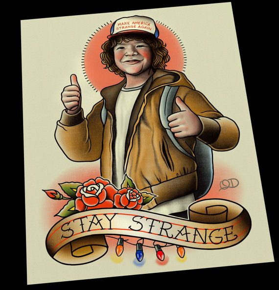 Dustin Stay Strange Stranger Things Art Print. Each print is signed, dated, stamped and printed at time of order. Prints will be protected in cellophane sleeves and shipped in rigid photo mailers with corrugated sheets for extra protection or shipped in a protective tube mailer. affiliate
