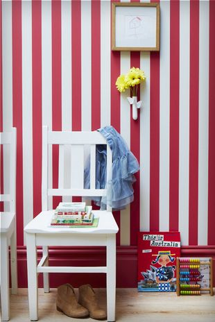 Party Time narrow stripe wallpaper from Porter's Paints.  Skirting board painted in Wild Strawberry.