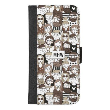Hipster Pattern custom monogram phone wallets - monogram gifts unique custom diy personalize