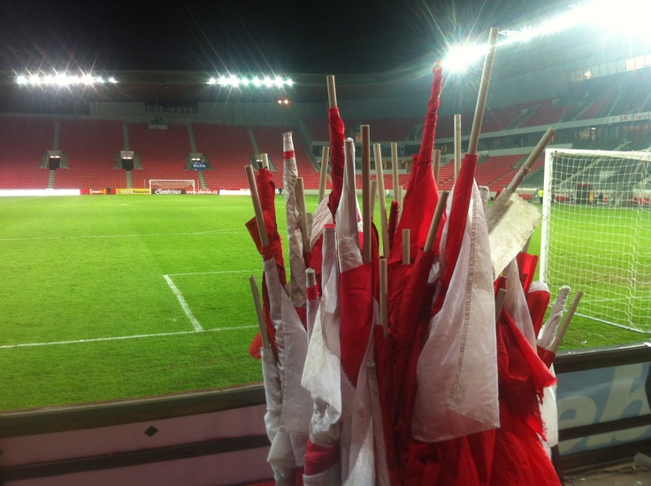 Baník Ostrava - SK Slavia Praha, 16th round, one hour after the match, waving flags folded and ready to be stored