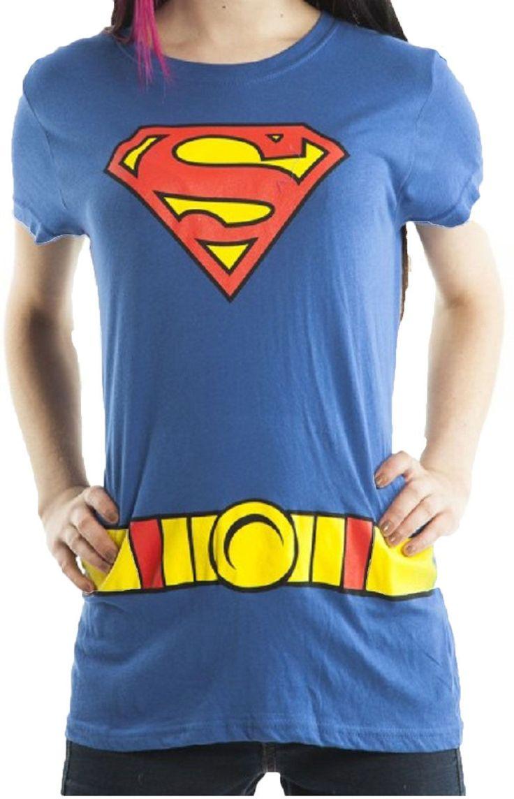 Officially Licensed Dc Comics Superman Super Girl Logo Juniors Costume T-Shirt