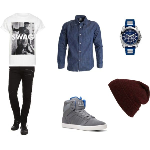 Outfit for guy by strawberryxoxgalaxy on Polyvore featuring adidas, Topman and GUESS