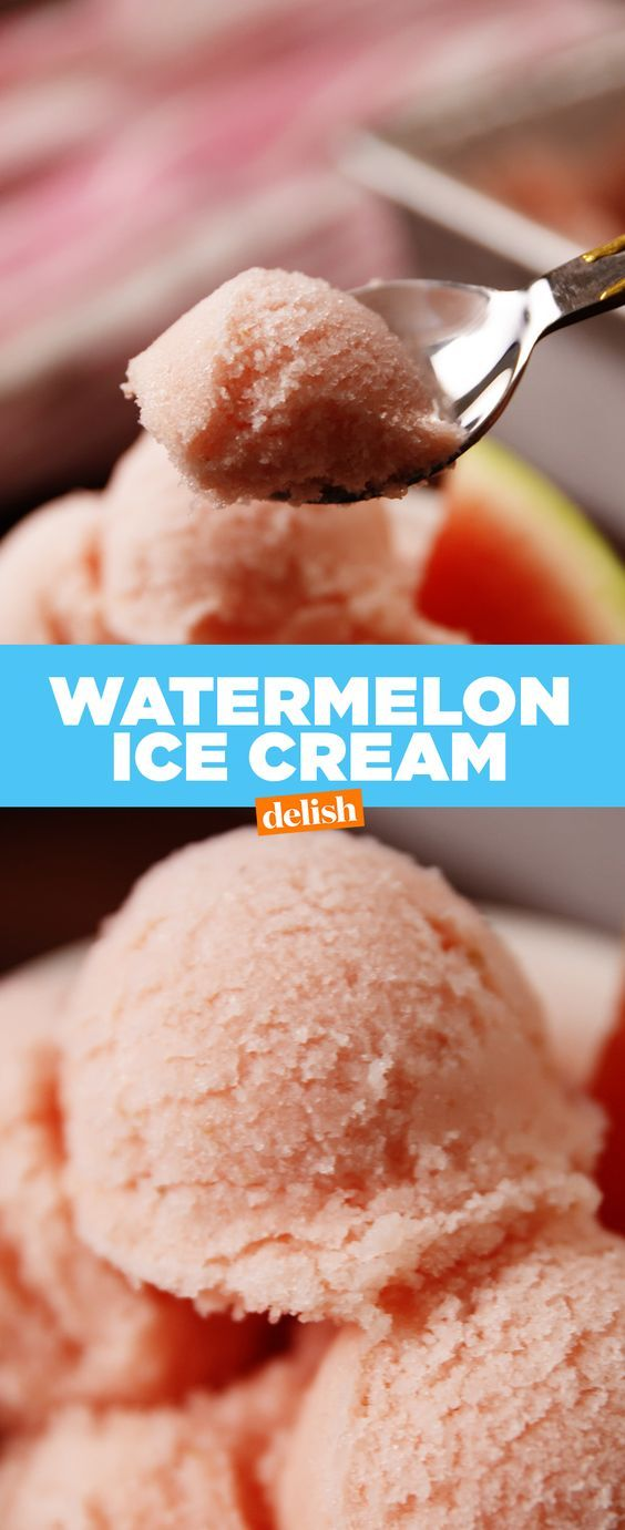 You don't need an ice cream machine to make Watermelon Ice Cream. Get the recipe from Delish.com.