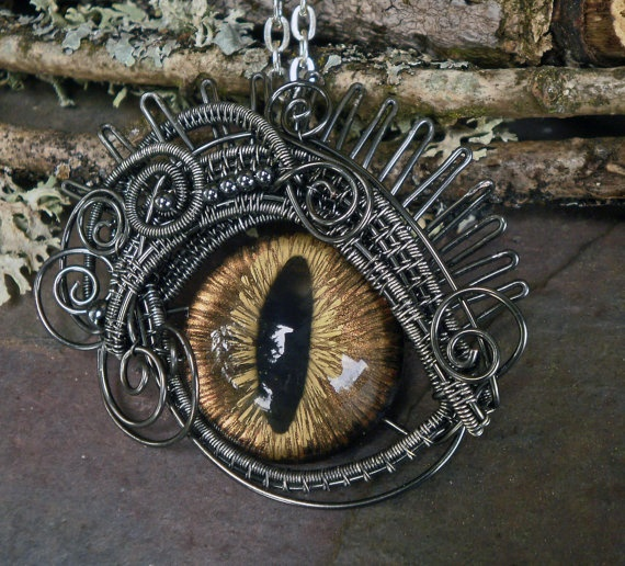 Gothic Steampunk Evil Cat Eye Pendant