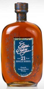Elijah Craig 21-Year-Old Single Barrel displays hearty aromas of rum, raisin and corn on the nose