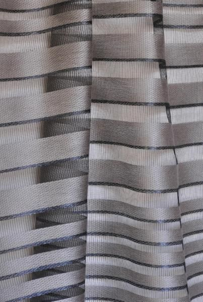 Rue -  Mazarine A beautiful sheer stripe with a venetian blind effect. The horizontal irregular bands of matt and shine provide the design for this wide-width fabric. The tones are monochrome and multicoloured