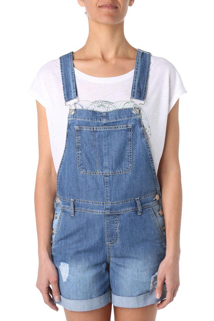 Salopette short délavée #salopette #combi #jumpsuit #denim #jeans