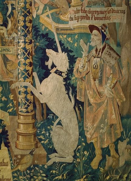 Detail of a 16th century Flemish tapestry of the Life of the Virgin Mary featuring a Unicorn. Artwork-location: Rheims, Palais Du Tau (Art Museum)