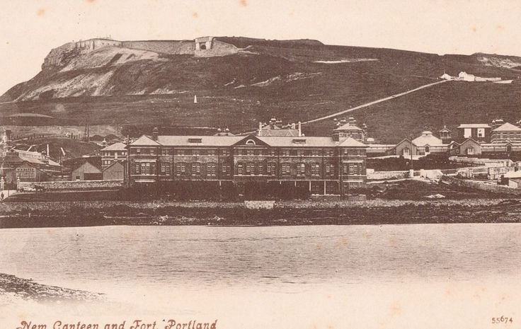 New Canteen and Fort, Portland, old b+w postcard, unposted