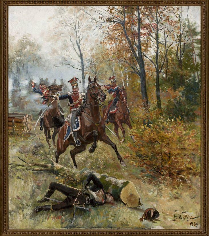 """Stanisław Pomian Wolski (1859 - 1894)     """"Potyczka w lesie"""" ,1889"""