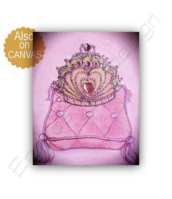 Princess Crown Art Baby Girl Nursery Princess Decor Girls