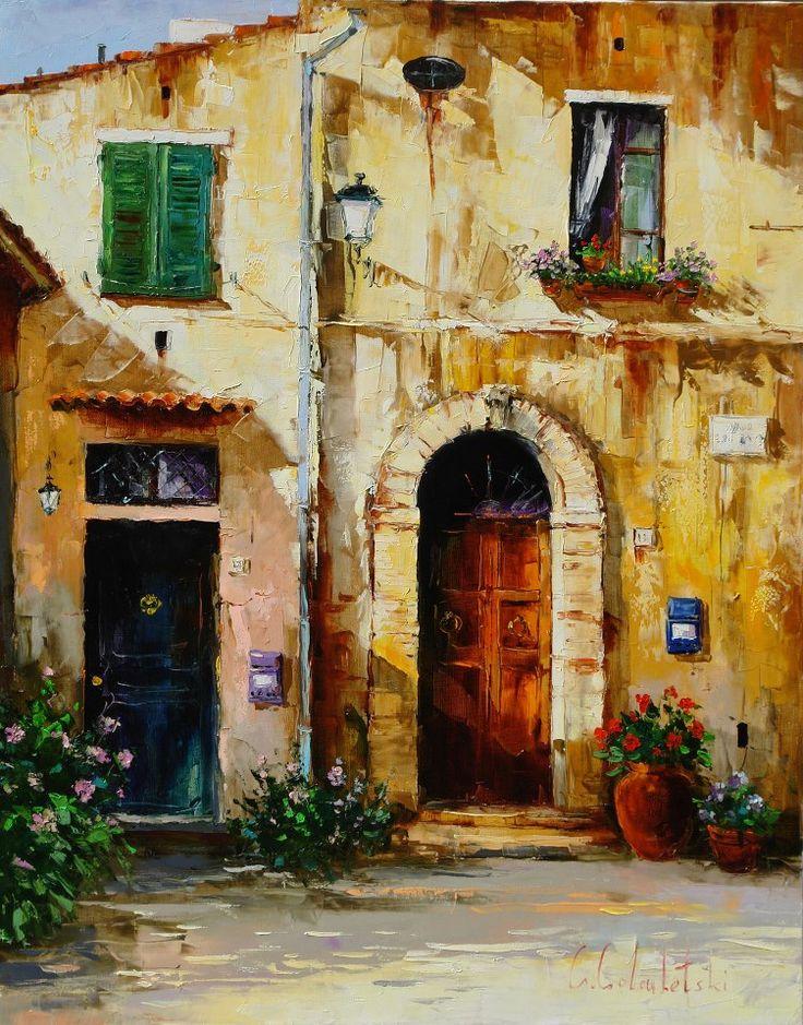 Russian artist Gleb Goloubetski | Tuscan facade 100x80 2006