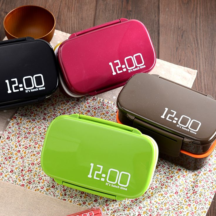 Fun Life 12:00 It's lunch time Japan style  double tier Bento Lunch Box,Large meal box tableware Easy-Open microwave oven AF1223
