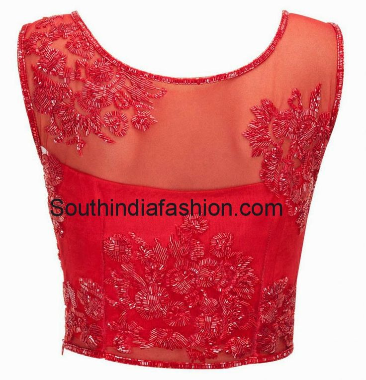 Featuring stylish red blouse embroidered with cut dana work. It has side zip and transparent front and back neck.