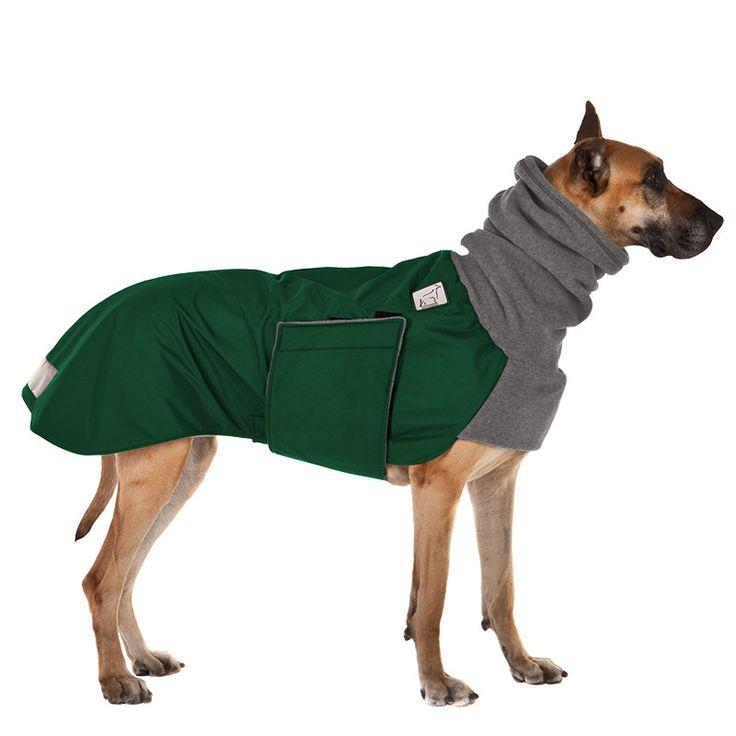 Great Dane Winter Coat (Green with Grey Hood)