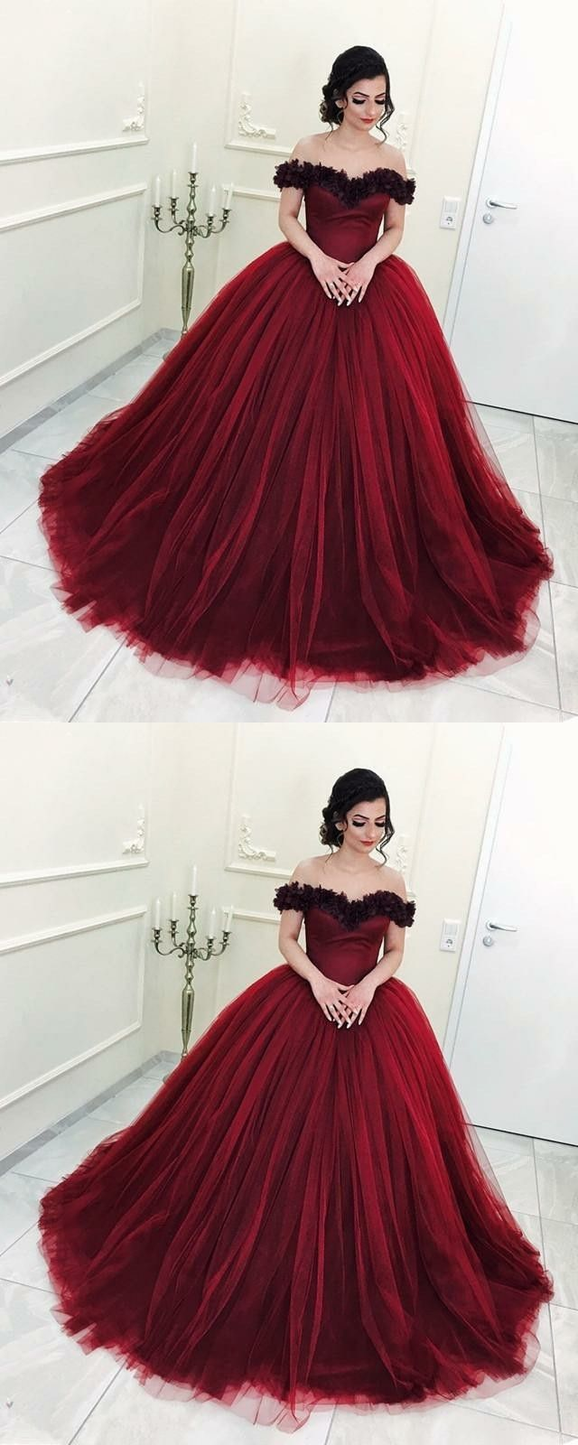 dreamy off shoulder ball gowns for prom party, burgundy quinceanera dresses with appliques.