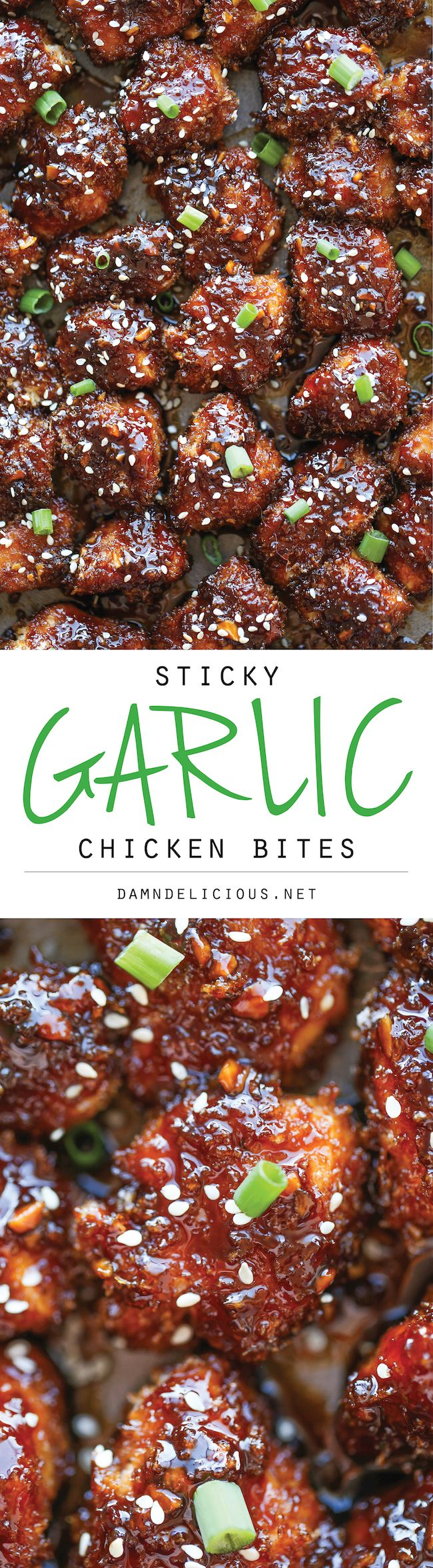Sticky Garlic Chicken Bites - These easy baked chicken nuggets are sweet, sticky, and just finger-licking amazing!