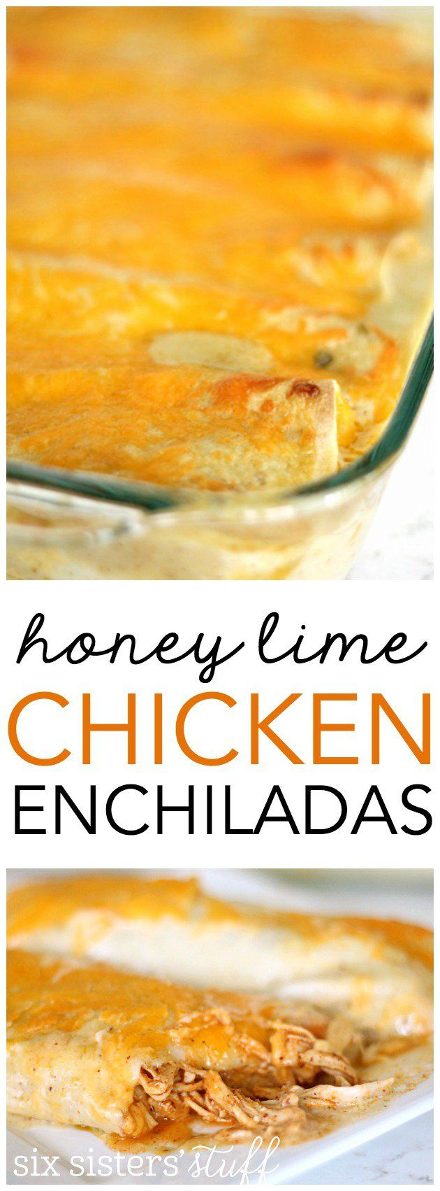 My family is obsessed with these Honey Lime Chicken Enchiladas from SixSistersStuff.com!