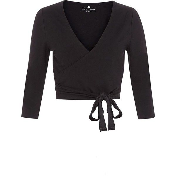 Black Sports Dance Wrap Ballet Top (£9.99) ❤ liked on Polyvore featuring tops, 3/4 sleeve tops, wrap tie top, sport tops, tie top and wrap style tops