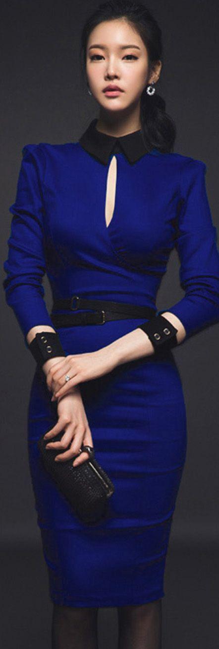 Blue Contrast Collar 3/4 Sleeves Dress