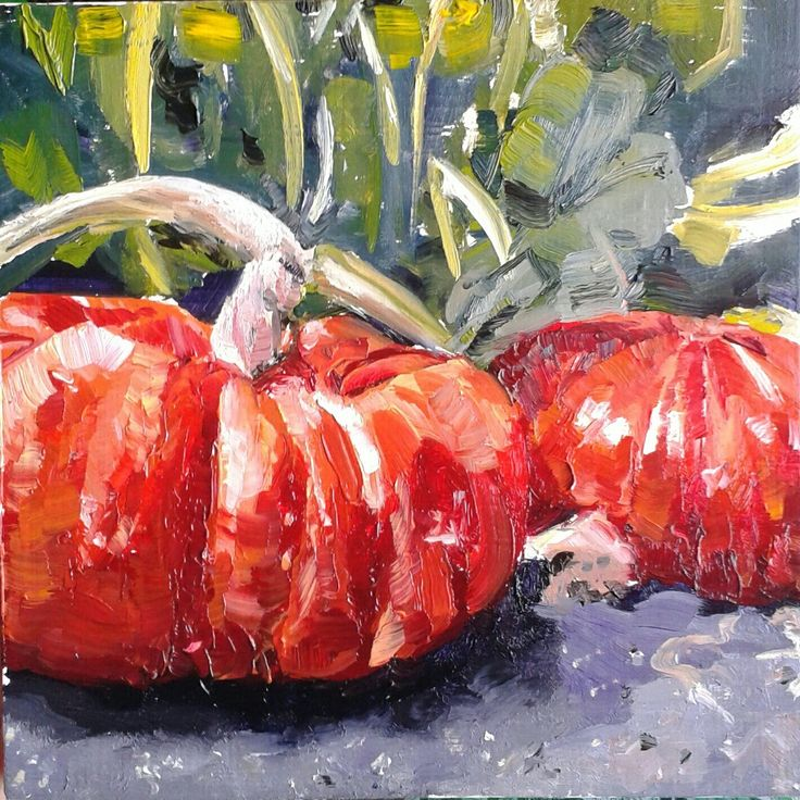 """Pumpkins"" 6 x 6 inch - oil on panel, by Vicky Curtin SOLD"