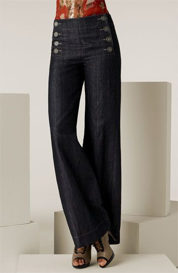 If I'm going to wear anything flared, these high waist sailor pants are awesome.  Jean Paul Gaultier Denim Sailor Pants available at #Nordstrom