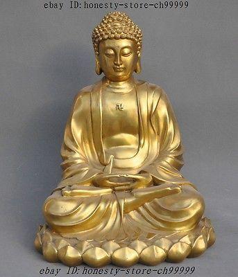 Tibet Buddhism Fane joss Brass Sakyamuni Shakyamuni Tathagata Buddha Sculpture