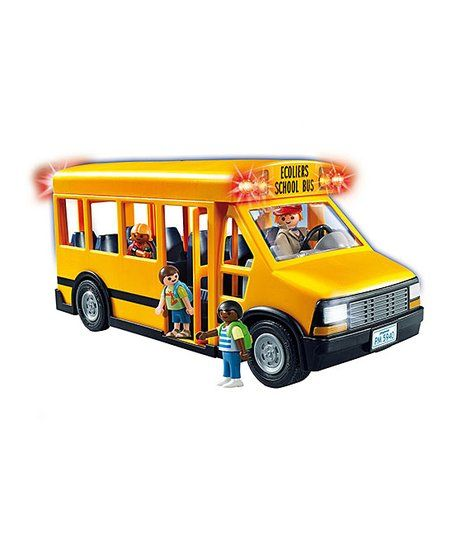Transport students to and from school with this school bus featuring working lights and a swing-out stop sign. There's ample room for figures inside. CHOKING HAZARD: Small parts. Not for children under 3 years