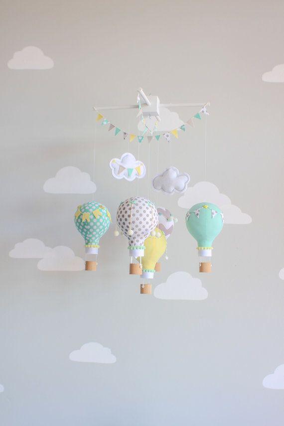 Gender Neutral Baby Mobile Hot Air Balloon by sunshineandvodka