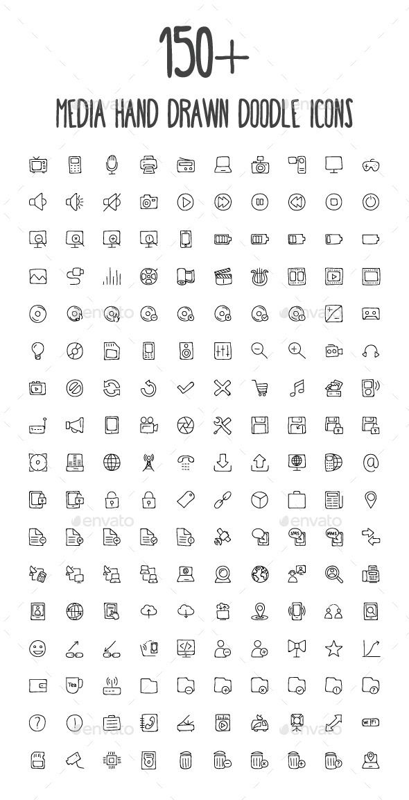 170 Media Hand Drawn Doodle Icons #design Download…