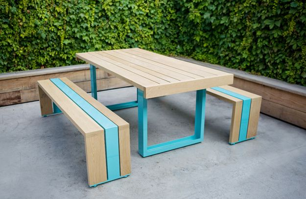 Love this white oak and powder coated steel table by Scout Regalia.