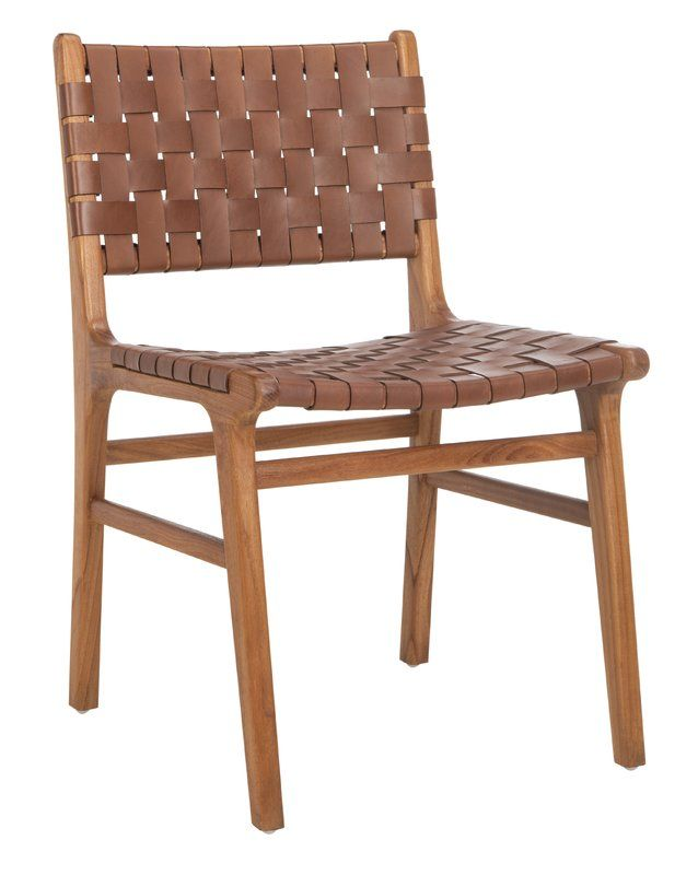 Greta Woven Leather Upholstered Dining Chair Leather Dining