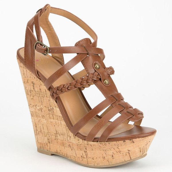Delicious Spine Womens Gladiator Wedges ($27) ❤ liked on Polyvore featuring shoes, wedges, heels, sandals, zapatos, tan, strappy shoes, strap shoes, delicious shoes and wedge heel platform shoes