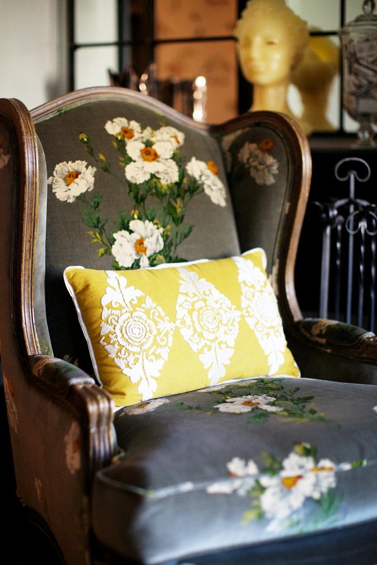 Peppermint Bliss loving printed fabric chair yellow cushion!