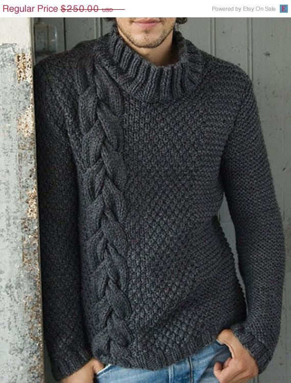 ON SALE MADE To Order Sweater aran men hand by LuxuryKNITTING2013