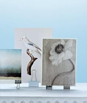 Use a binder clip as an inexpensive photo frame (especially cute in a dorm or office).