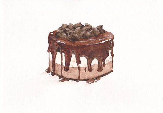 Chocolate Cake Digital Watercolor Painting Kitchen Decor
