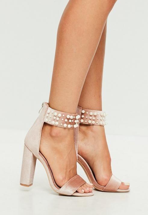 Pink Pearl Strap Velvet Sandal Heels