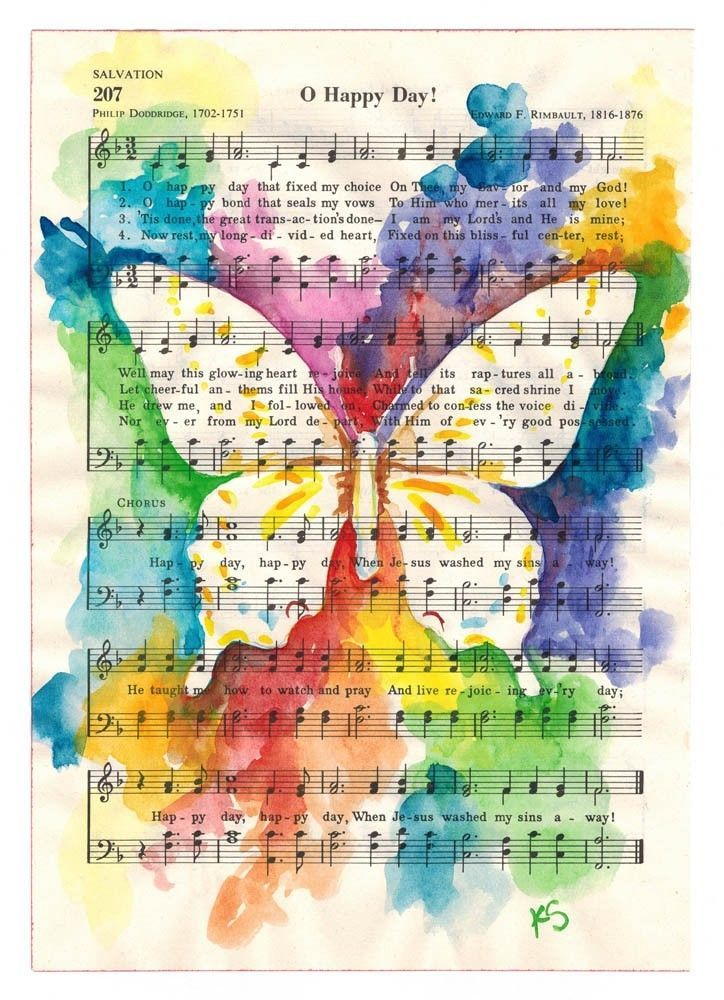 Watercolor ORIGINAL Butterfly Inspirational Sheet Music 8x6 Kit Sunderland  Follow Kit Sunderland on Facebook  www.facebook.com/pages/Kit-Sunderland/141759050719?ref=hl