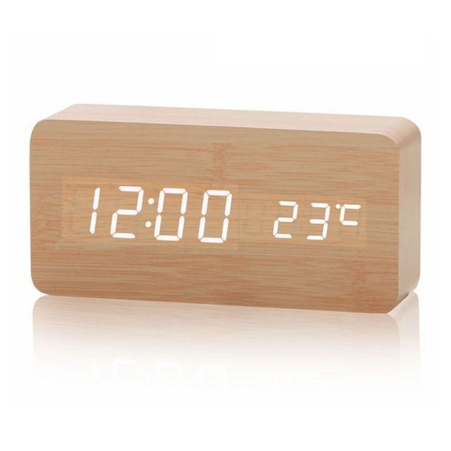 New Wooden Led Alarm Clock Despertador Temperature Sounds Control