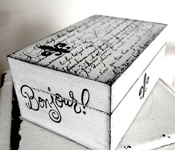 Box - White Shabby Chic Box - Gift Trinket Wedding Recipe Box for Bridal Shower - 3x4.5 inch wood rustic box