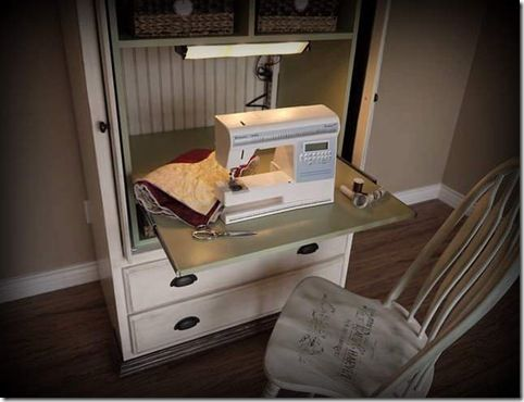 032 transform a tv armoire into a sewing cabinet by the addition of a slider