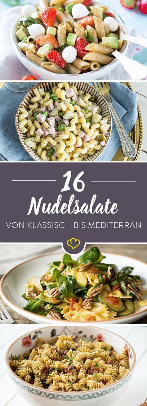 Nudelsalat passt immer: Ob Grillparty oder Geburtstagsfeier, mit diesen 16 bunten Nudelsalaten wird jedes Salat-Buffet zum Gaumenschmaus für Pasta-Fans.