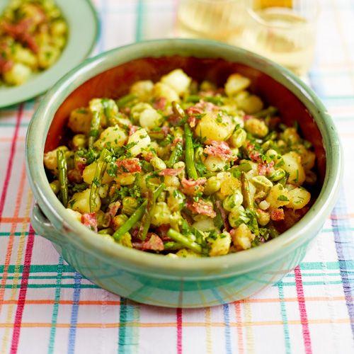Gebakken aardappels met pittige tofu