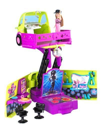 Polly Pocket! Club Groove Par-Tay Bus by Mattel. $66.00. Hit the road and enjoy the ultimate ride on Polly Pocket's Par-Tay Bus with a dance club inside! The Club Groove Par-Tay Bus transforms into a hip dance club with stage (and real lights), café for snacking, and cool dressing room where party girls can just relax. There's also a DJ booth with records to spin and fun smoothie bar to hang in. The double-decker bus/dance floor comes with 2 small Polly Pocket dolls, lo...
