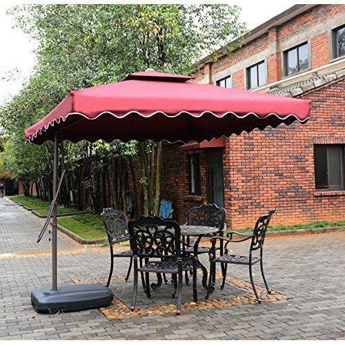 Cantilever Patio Umbrella Outdoor Sun Shade Vented Double Canopy Home Deck  Porch