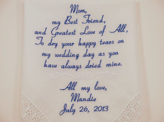 Mother of the bride Embroidered Personalized Wedding Handkerchiefs  Hankerchiefs with custom embroider gifts Mom womens accessory favors gift
