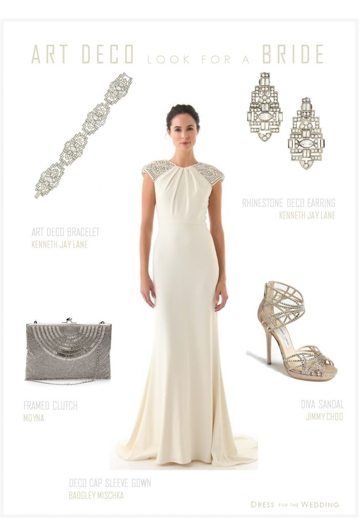 Deco Wedding Dress | badgley mischka deco cap sleeve gown kenneth jay lane deco earrings ...